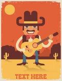 Músico de antaño siete del país Ejemplo de la música country del vector Fotos de archivo libres de regalías
