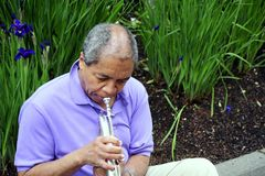 Músico de jazz afroamericano Imagen de archivo libre de regalías