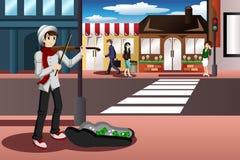Músico de la calle stock de ilustración
