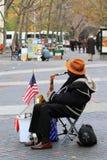 Músico de la calle en New York City Imagenes de archivo