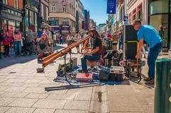 Músico de la calle Irlanda, Dublín Imagen de archivo libre de regalías