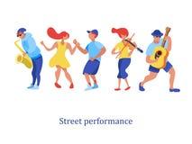 Músico de la calle Saxofonista, violinista, guitarrista, bailarines Str ilustración del vector