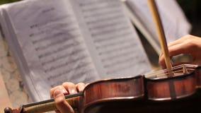 Músico de la mujer que toca el violín en el fondo de las notas almacen de metraje de vídeo