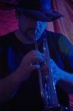 Músico de los azules   Fotografía de archivo