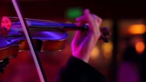 Músico de sexo masculino del primer que toca el violín en fondo oscuro con las luces coloridas almacen de video