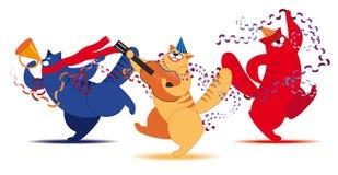 Músico de três gatos Imagens de Stock