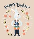 Músico divertido del conejo que juega el tambor grande Ejemplo dibujado mano de la historieta del vector ilustración del vector