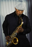 Músico do saxofone Imagens de Stock Royalty Free