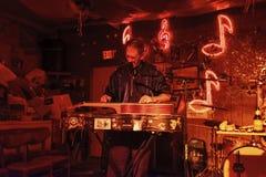 Músico dos azuis que joga na sala de estar dos vermelhos em Clarksdale, Mississippi imagens de stock
