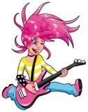 Músico joven con la guitarra eléctrica. stock de ilustración
