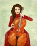 músico Mulher que joga o violoncelo Retrato do violoncelista Imagens de Stock Royalty Free