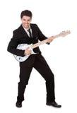 Músico no preto Imagem de Stock Royalty Free