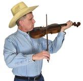 Músico Playing Violin o Fiddle Isolated de la música country Fotografía de archivo libre de regalías