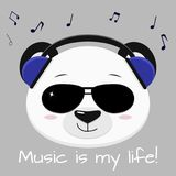 Músico principal de la panda en auriculares azules y vidrios negros, en el estilo de historietas libre illustration