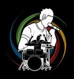 Músico que canta y que juega el tambor, banda de la música, artista stock de ilustración