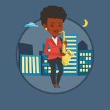Músico que joga na ilustração do vetor do saxofone Imagem de Stock Royalty Free