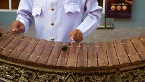 Músico que joga o gamelan tailandês de madeira video estoque
