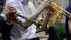 Músico que joga a trombeta, close up video estoque