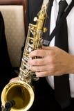 Músico que joga um instrumento Fotografia de Stock