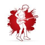 Músico que juega el bajo, banda de la música stock de ilustración