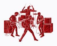 Músico que juega la música junta, banda de la música libre illustration