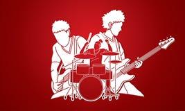 Músico que juega la música junta, banda de la música, artista ilustración del vector