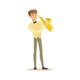 Músico que juega un ejemplo del vector del saxofón Imagenes de archivo