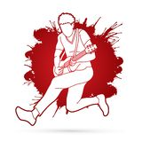 Músico que toca la guitarra eléctrica, banda de la música libre illustration