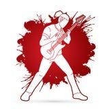 Músico que toca la guitarra eléctrica, banda de la música ilustración del vector