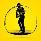 Músico que toca la guitarra eléctrica, banda de la música stock de ilustración