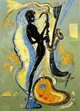 Músico que toca un saxofón stock de ilustración
