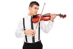 Músico que toca un violín Fotos de archivo libres de regalías