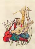 Músico Un hombre que juega un intstrumente musical Foto de archivo libre de regalías