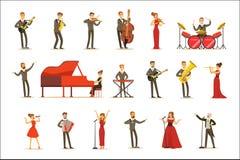 Músicos adultos y cantantes que realizan un número musical en etapa en la música Hall Set Of Cartoon Characters ilustración del vector