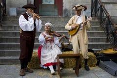 Músicos canadienses franceses Imágenes de archivo libres de regalías