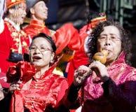 Músicos chineses da parada do ano novo Fotografia de Stock