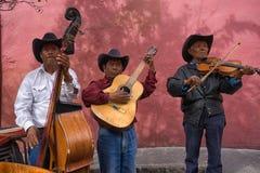 Músicos de la calle en San Migueal de Allende México imagen de archivo