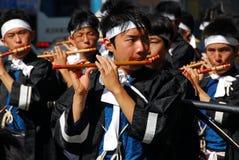 Músicos de la flauta de Japón imagen de archivo libre de regalías