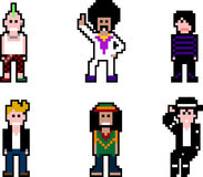 Músicos de la gente del pixel stock de ilustración
