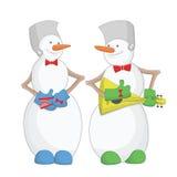 Músicos de los muñecos de nieve de la Feliz Año Nuevo ilustración del vector