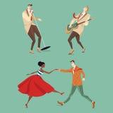 Músicos e um par que dança Lindy Hop ilustração do vetor