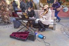 Músicos en la calle Foto de archivo libre de regalías