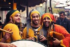 Músicos medievais que jogam no mercado do EL Alamo Imagens de Stock Royalty Free