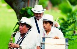 Músicos mexicanos que jogam instrumentos tradicionais Fotos de Stock Royalty Free