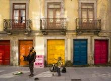 Músicos Oporto Portugal de la calle Fotos de archivo libres de regalías