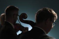 Músicos profissionais que jogam um concerto da música clássica fotos de stock