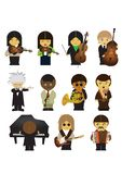 Músicos y sus instrumentos de música stock de ilustración