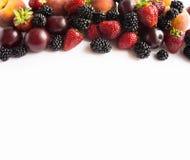 Mûres, fraises, prunes et pêches mûres sur le fond blanc Image libre de droits