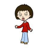 müde Frau der komischen Karikatur Stockbilder
