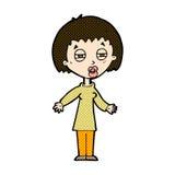 müde Frau der komischen Karikatur Lizenzfreies Stockfoto